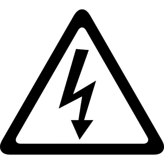 Arrow bolt signal of electrical shock risk in triangular shape Icons ...