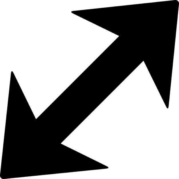 Arrow Diagonal With Two Points To Opposite Directions Icons Free