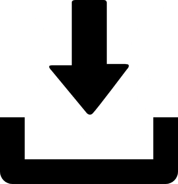 Arrow representing a download Free Icon