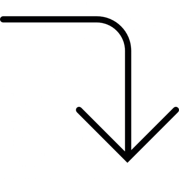 Arrow Rounded Angle Of A Line Pointing Down Icons Free Download
