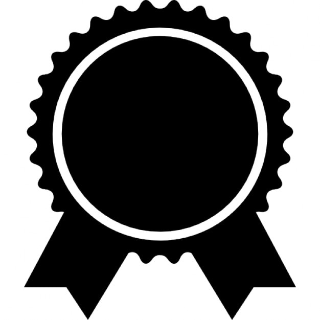 Award badge of circular shape with ribbon tails Icons | Free Download
