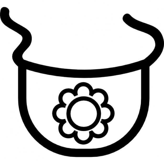 Baby bib outline with a flower Icons | Free Download