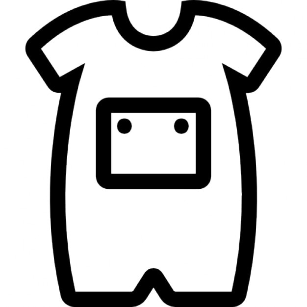 Baby Onesie With Front Pocket Outline Icons | Free Download