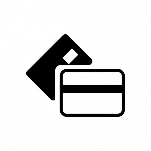 Bank cards icon in white and black Free Icon
