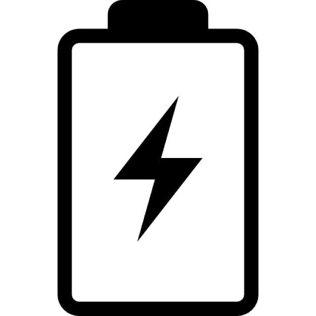 Battery with a bolt symbol Free Icon