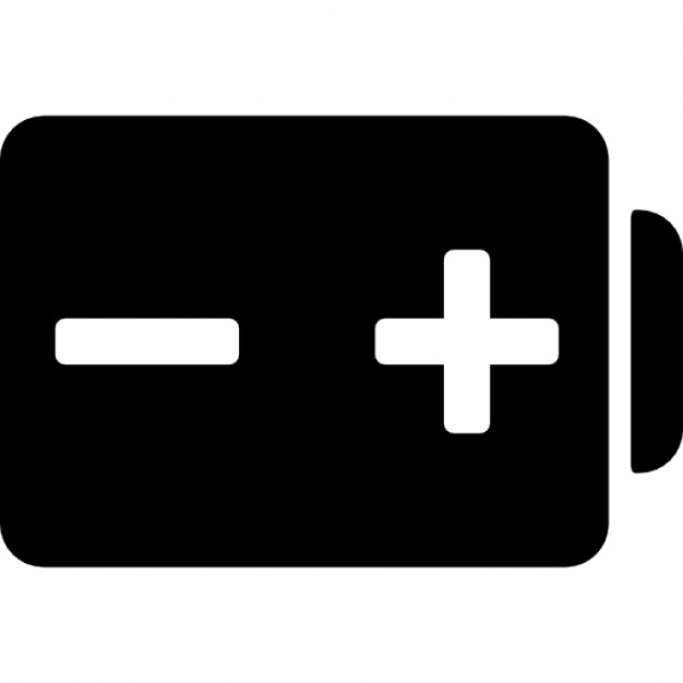 Battery with positive and negative poles signs Icons | Free Download
