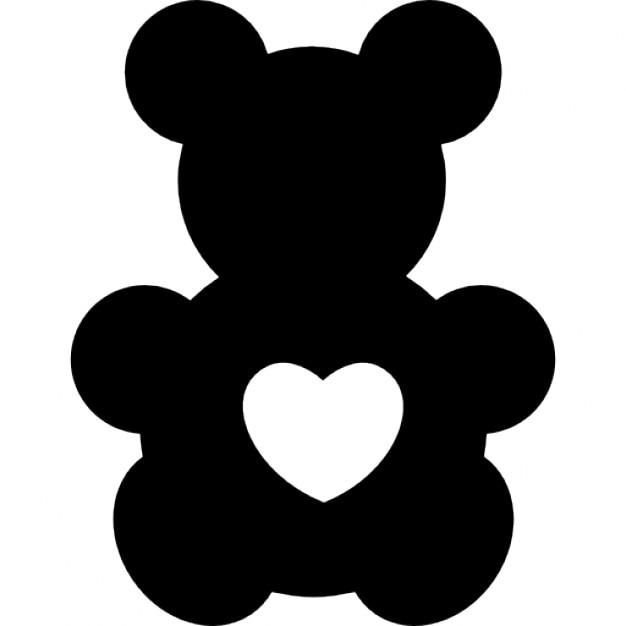Bear Toy Silhouette With A Heart Shape Icons Free Download