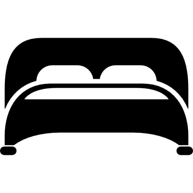 Bed with two pillows bottom view Free Icon