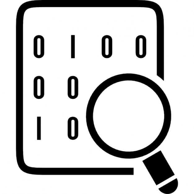 Binary codes on data sheet with magnifying lens icons free download