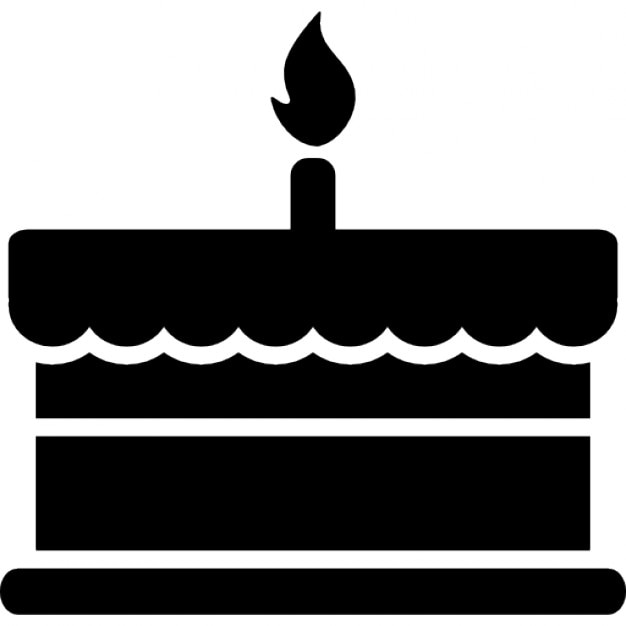 Birthday cake with one burning candle Icons | Free Download