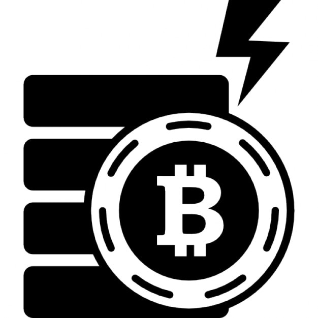 Bitcoin Electric Symbol With A Bolt Shape Icons Free Download