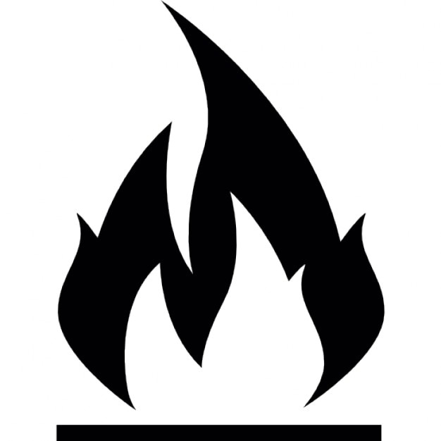 Black and white flame sign Icons | Free Download
