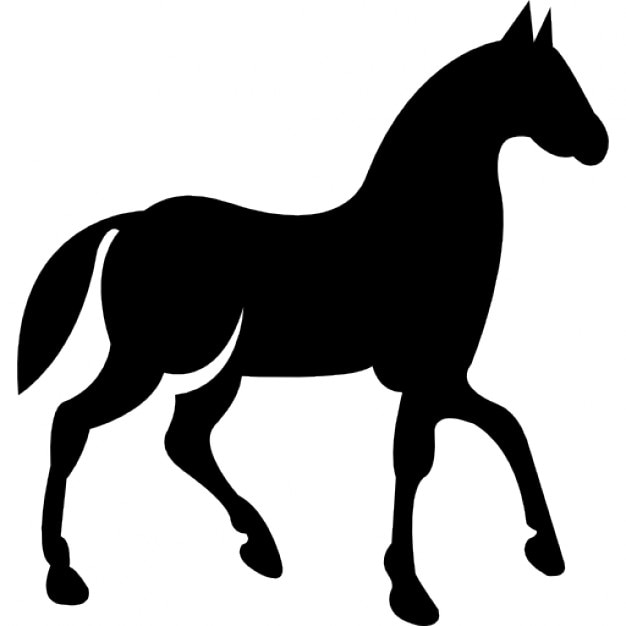 black race horse on walking pose side view icons free