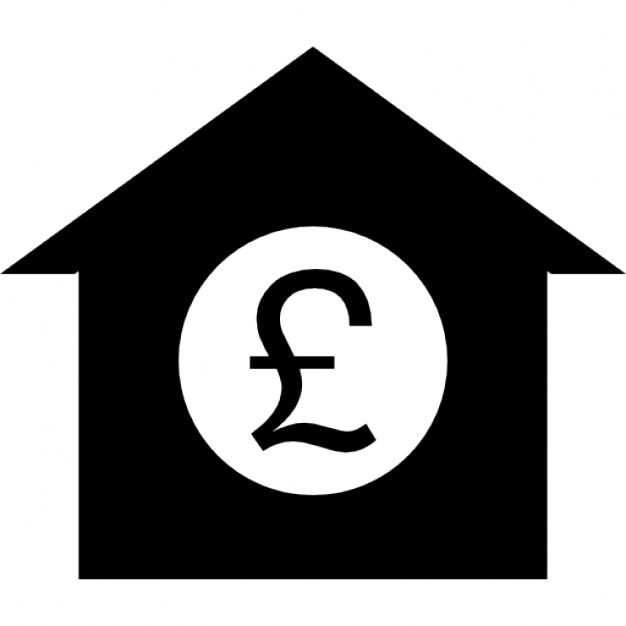 British Pound Symbol On A House Icons Free Download