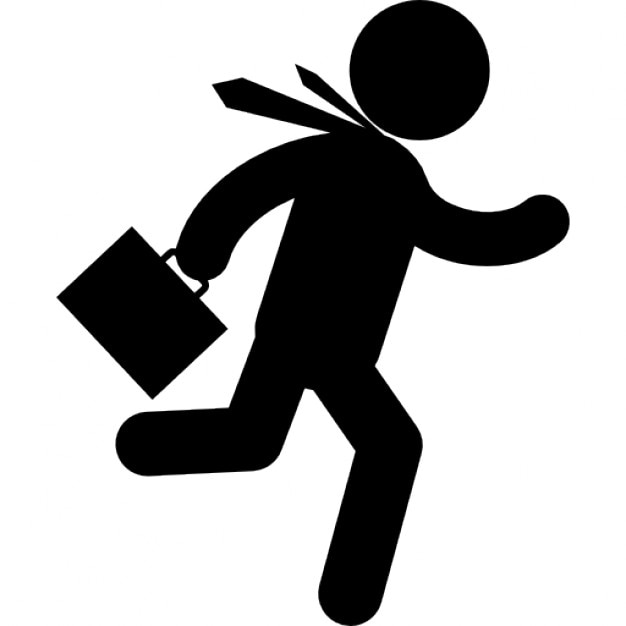 Businessman running fast with suitcase in right hand Icons ...