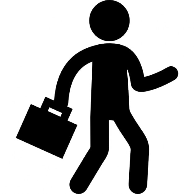 Businessman silhouette walking with suitcase Icons | Free ...