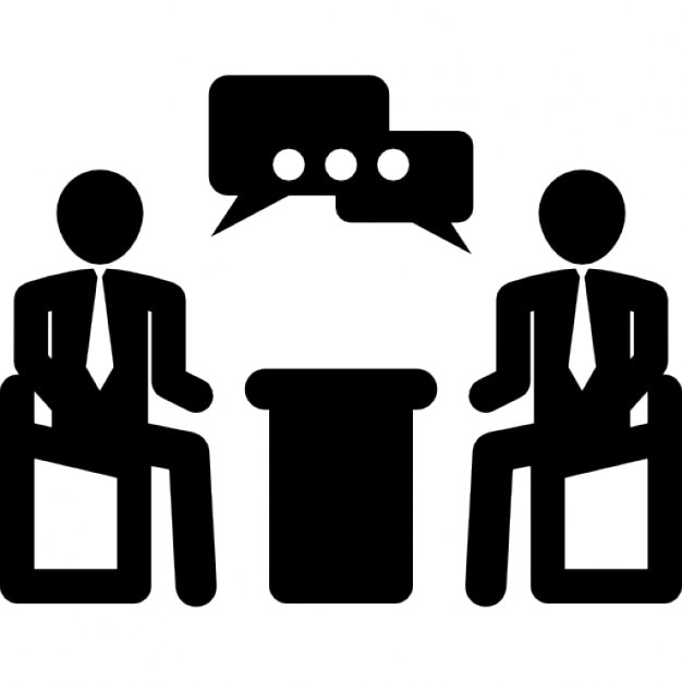 Businessmen talking in business meeting Free Icon