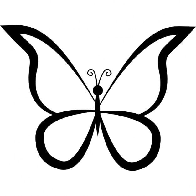 Butterfly Outline Design From Top View Icons