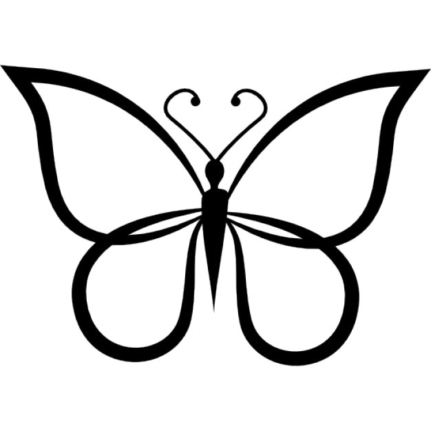 Line Drawing Butterfly : Butterfly shape outline top view icons free download