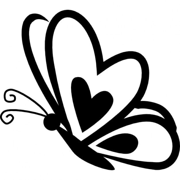 Butterfly With A Heart On Frontal Wing On Side View Icons