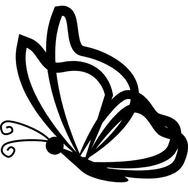 butterfly with transparent wings outlines from side view icons