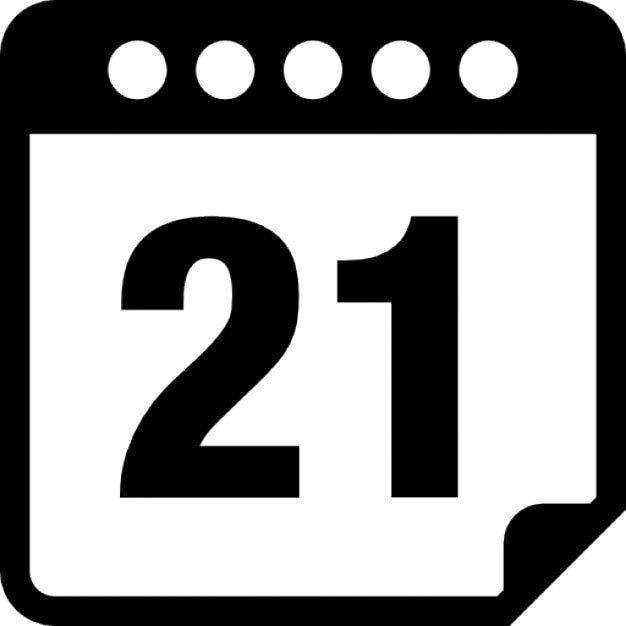 calendar interface symbol on day 21 icons free download