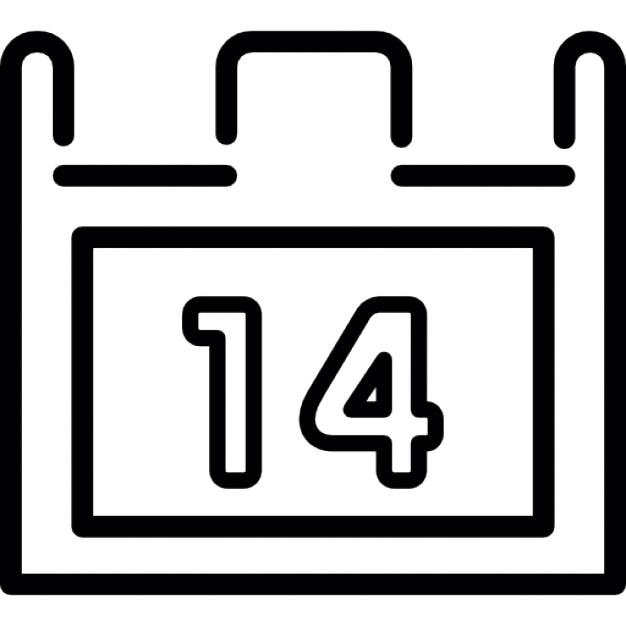 Calendar outline with number 14 Icons | Free Download