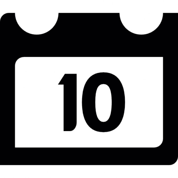 Calendar page on day 10 Icons Free Download