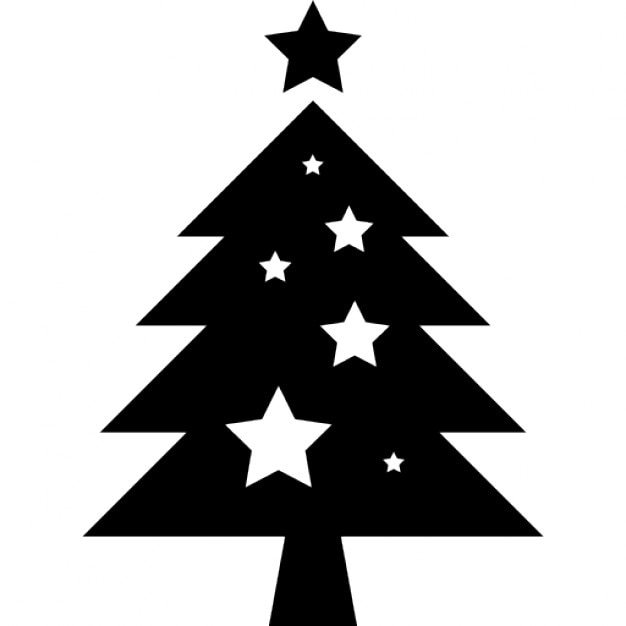 Christmas Tree With Stars Ornaments Free Icon