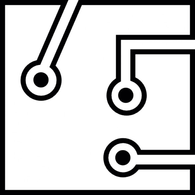 circuit board with white detailed outlines icons