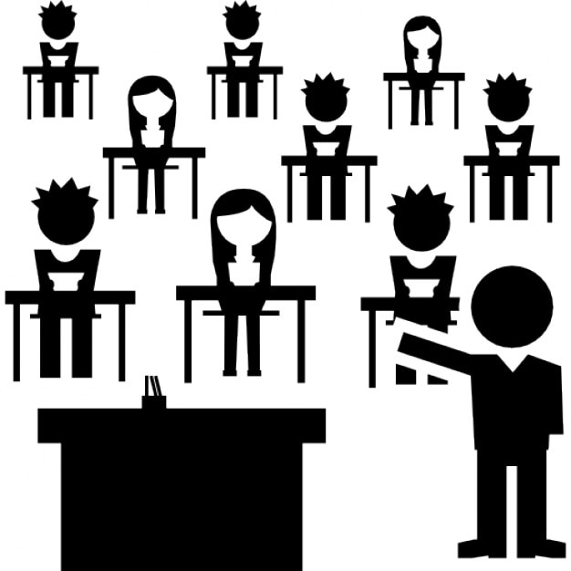 Book Icon Vector Male Student Or Teacher Person Profile: Classroom With Students Group And The Teacher Icons