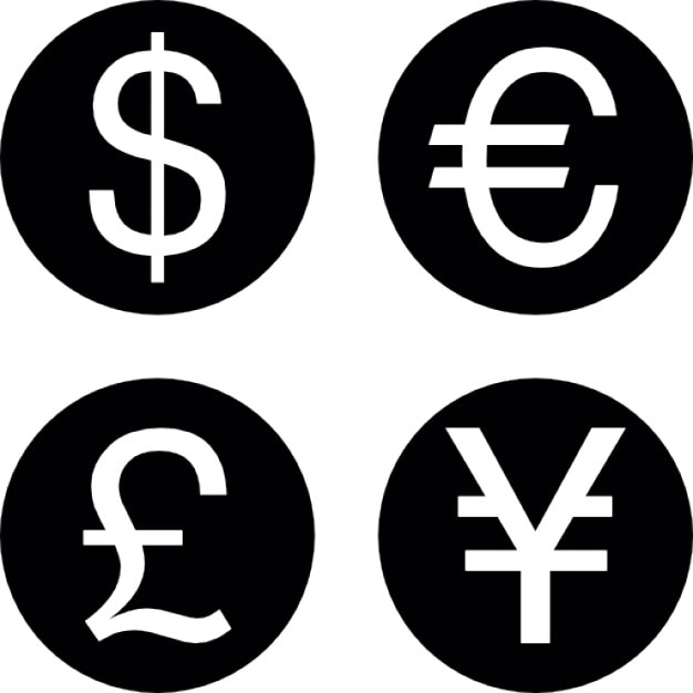 Coins Of Four Different Currencies Icons Free Download