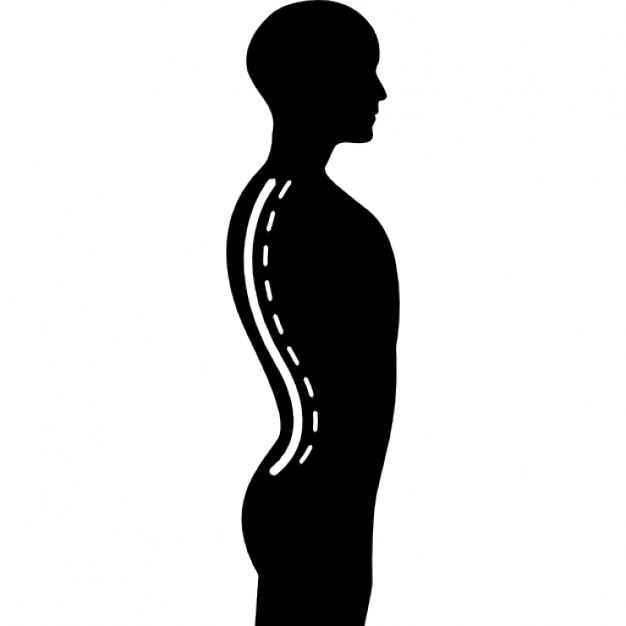 Column Inside A Male Human Body Silhouette In Side View Icons Free