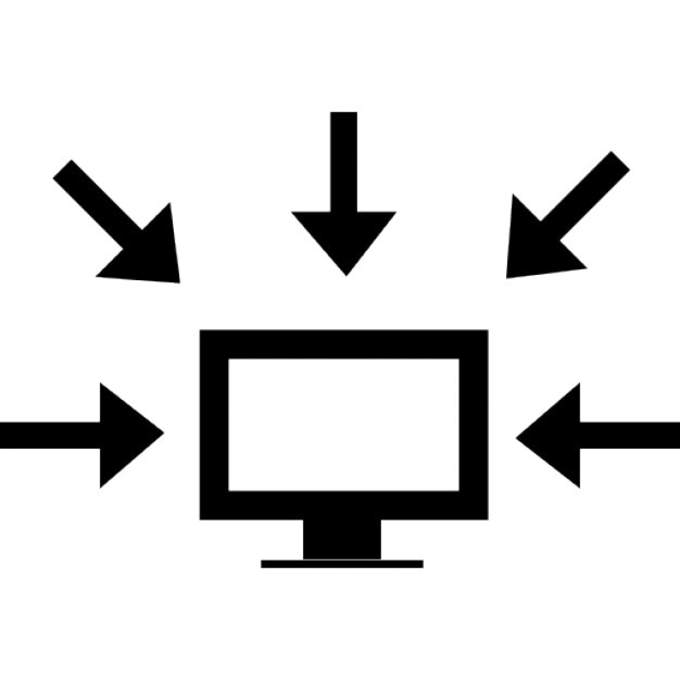 Computer Data Interface Symbol Of A Monitor Surrounded By Arrows