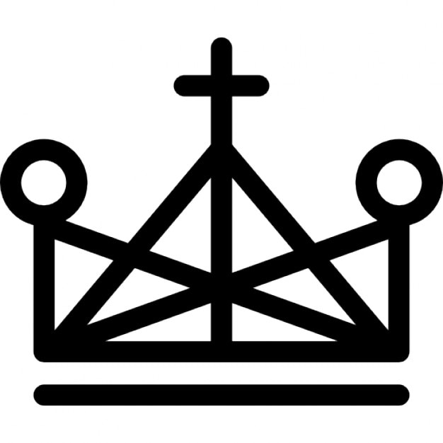 Crown Made Of Triangle Outlines With Cross And Small Circles Icons