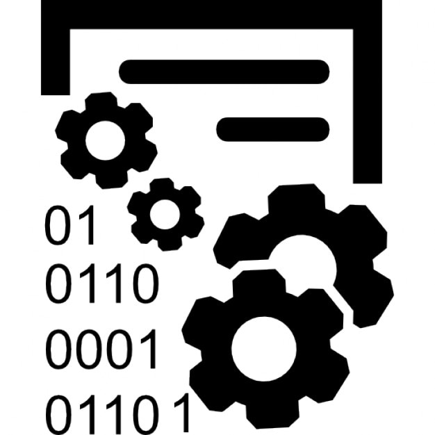 Data Acquisition Icon : Data management interface symbol with gears and binary
