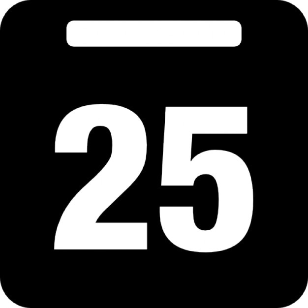Day 25 On Daily Calendar Icons Free Download