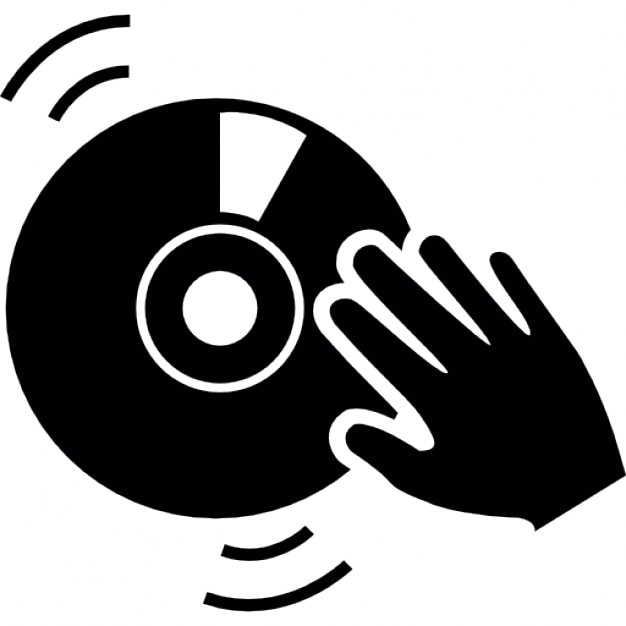 Dj Hand On A Vintage Music Disc Icons Free Download