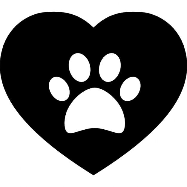 dog pawprint on a heart icons free download rh freepik com Dog Footprints Clip Art Dog Paw Print Logo