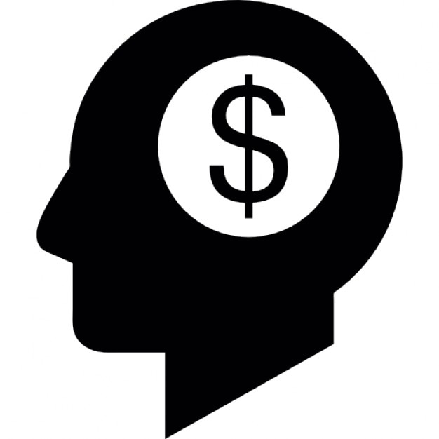 Dollar Symbol In A Head Silhouette Thinking About Money Icons