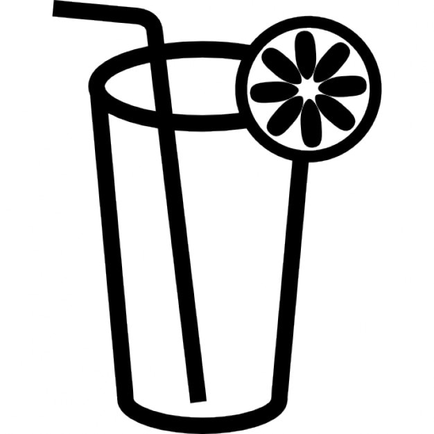 Drink Glass Outline With Lemon Slice And Straw Icons