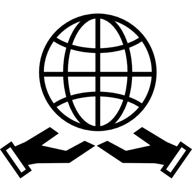 Earth Grid Symbol Over Two Hands Icons Free Download