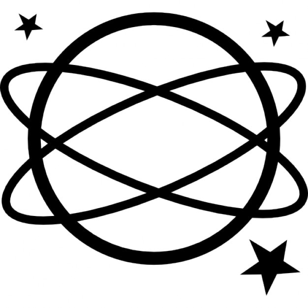 Earth Symbol Variant With Ellipses And Stars Icons Free Download
