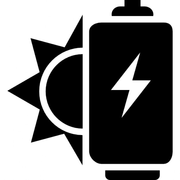 Ecological Solar Power For A Battery Icons Free Download