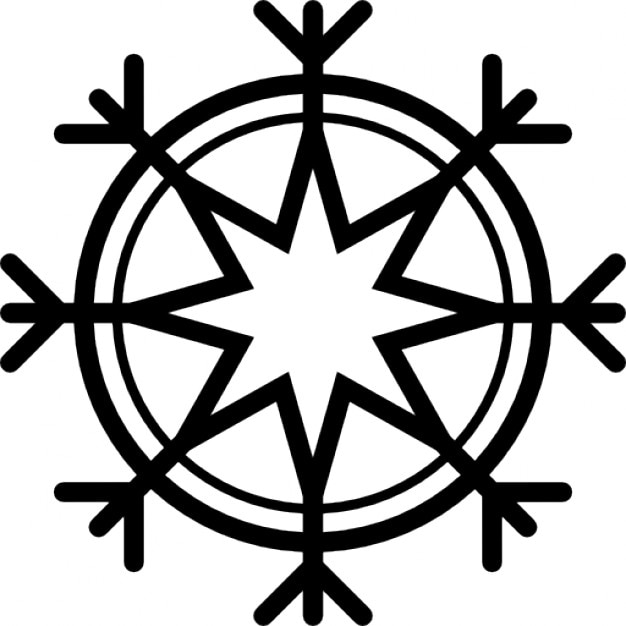 Eight point star outline snowflake Icons | Free Download