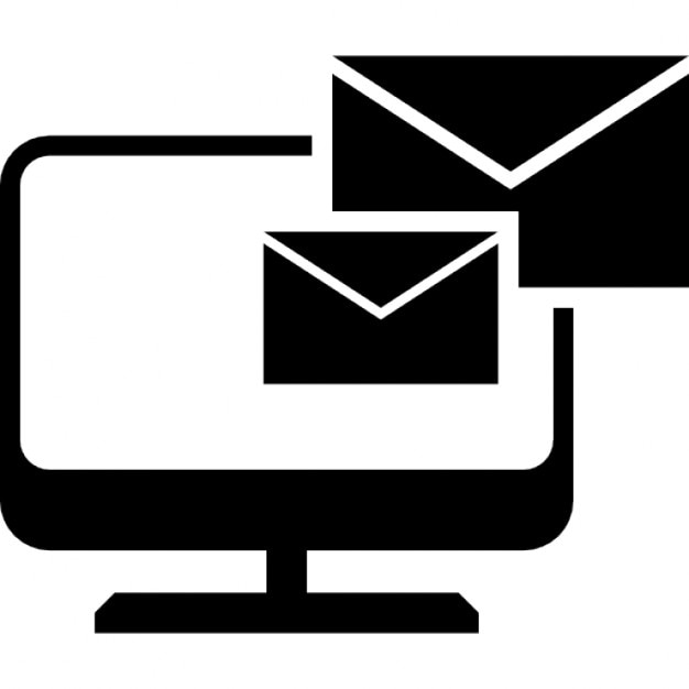 emails couple of envelopes on a monitor icons free download