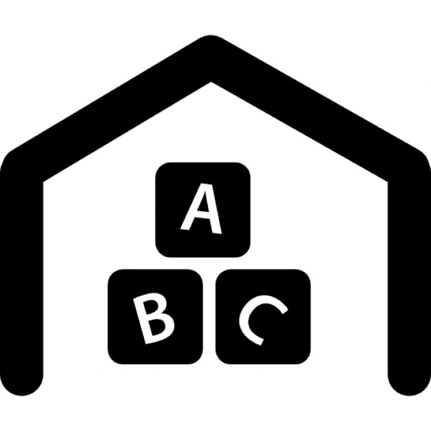 Entertainment Area Symbol With Abc Cubes And House Outline Icons