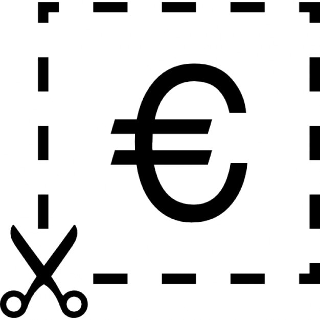 Euro Symbol Inside A Cutted Line Square With A Scissor Icons Free