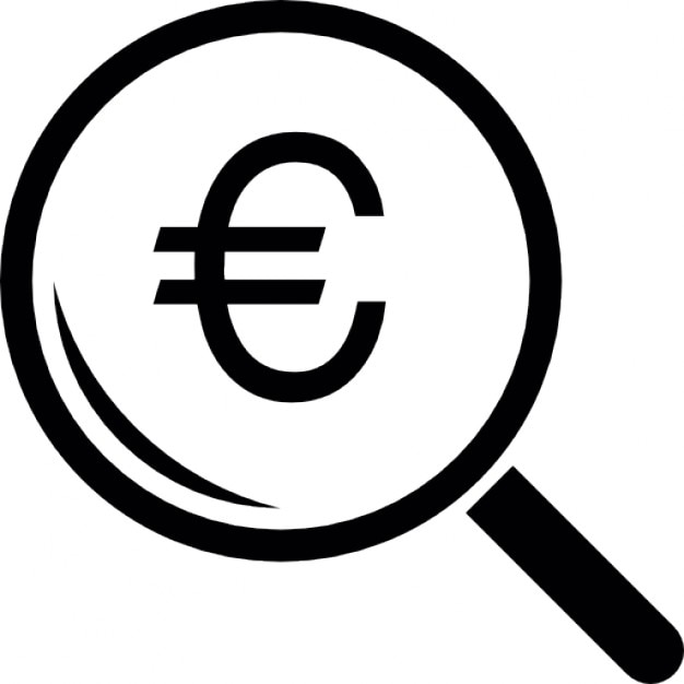 Euro Symbol Under A Magnifier Tool Icons Free Download