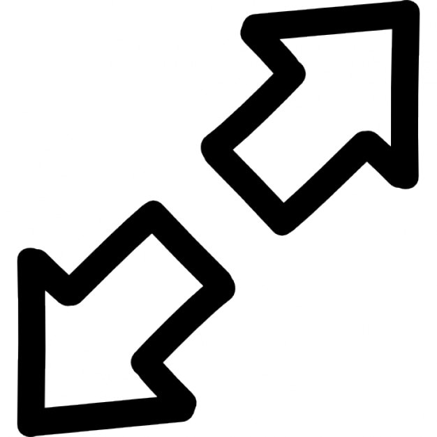 expand hand drawn interface symbol of two opposite arrows outlines